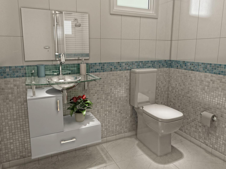 Banheiros Revestidos Simples : Banheiros simples decorados confira o banheiro