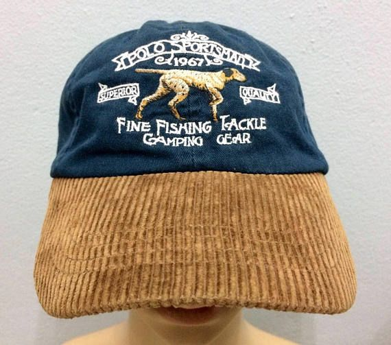 93c57711cae62 Vintage Rare Polo Sportsman Ralph Lauren Cap Corduroy Embroidered Fine  Fishing Tackle Big Logo Leath