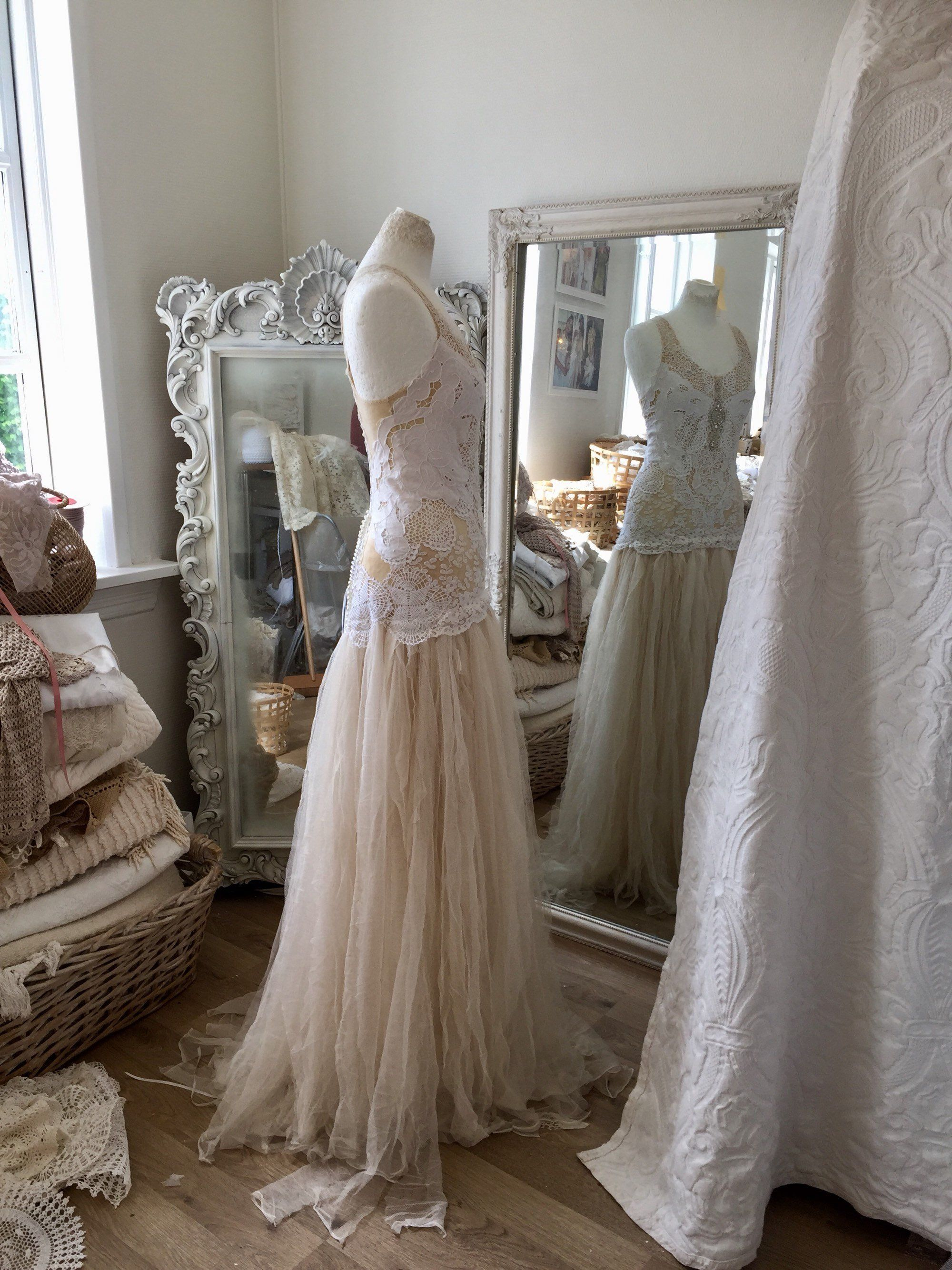 Bridal gown wedding dress in white and delicate tea stained colour