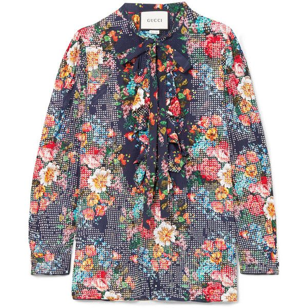 Gucci Josephine embellished floral-print silk-chiffon shirt found on  Polyvore featuring tops,