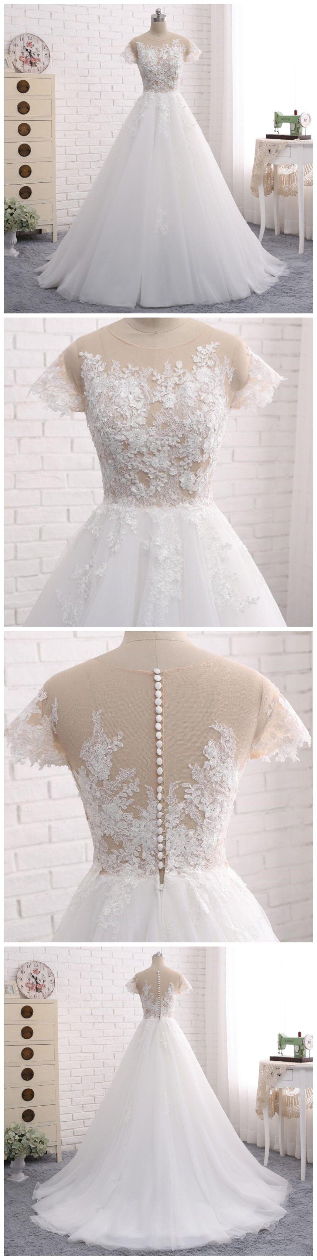 Custom made wedding dress  See Through Short Sleeve A Line Lace Wedding Bridal Dresses Custom