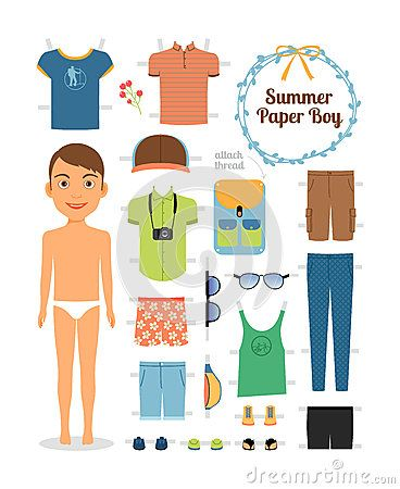 Paper Doll Boy In Summer Clothes And Shoes Boys Summer Outfits