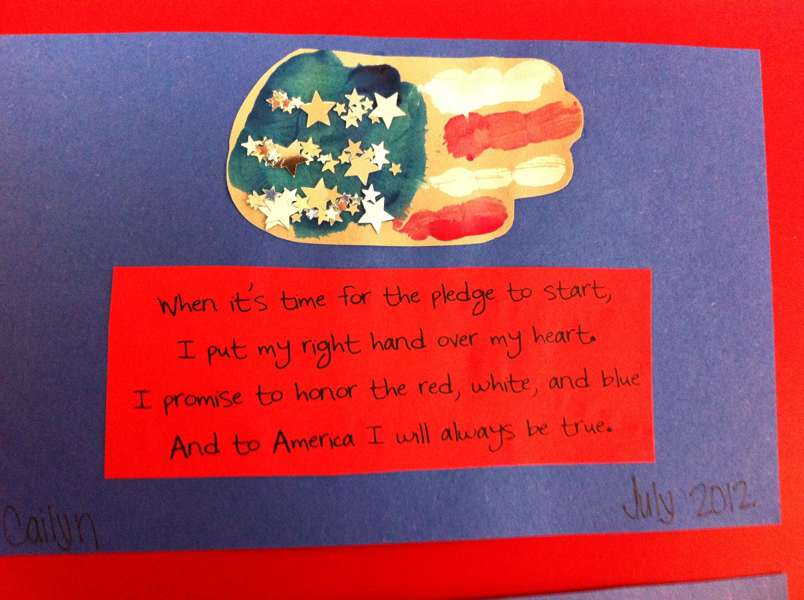 4th Of July Handprint Flag Amp Poem