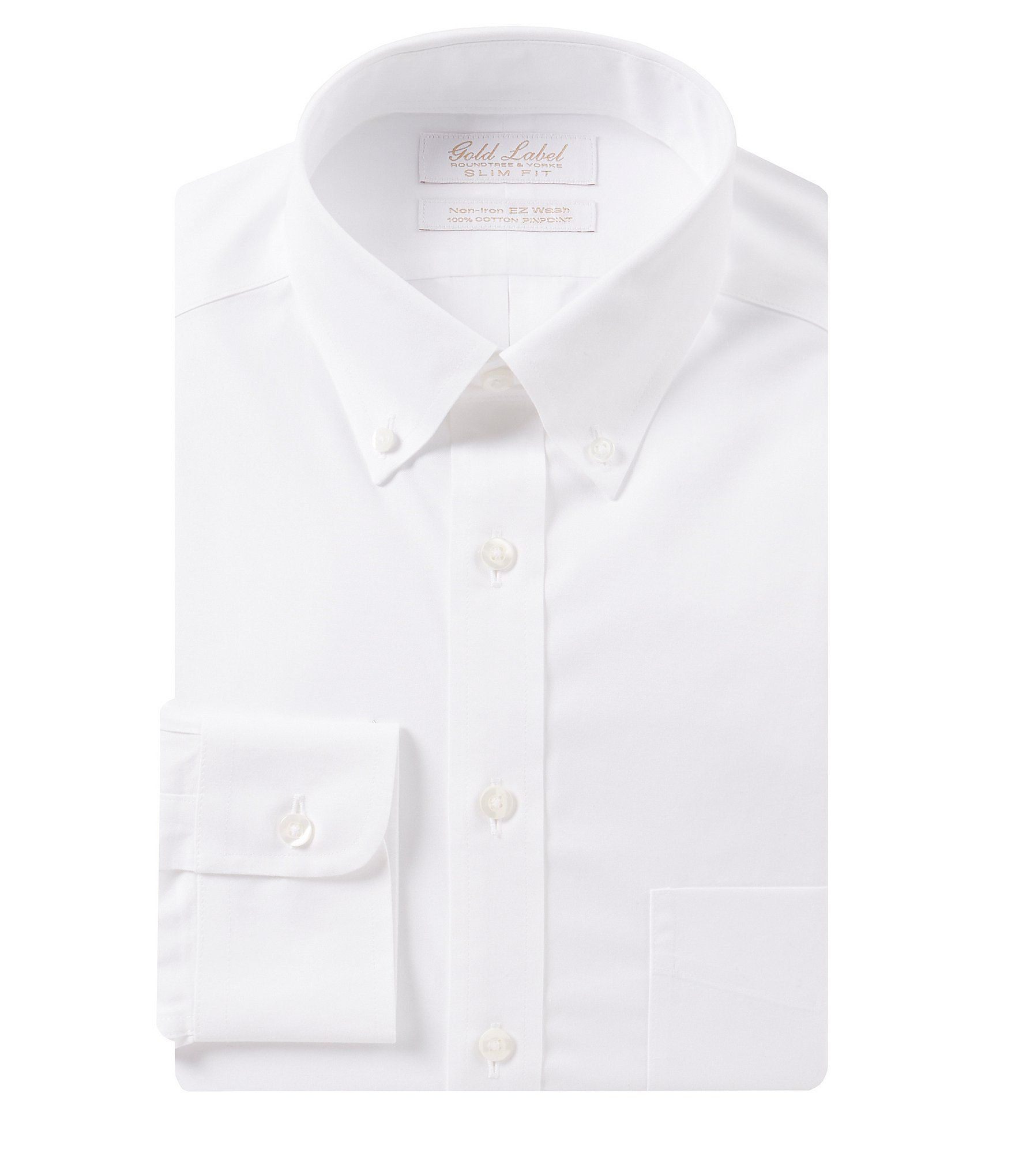 Gold Label Roundtree & Yorke Non-Iron Slim-Fit Button-Down