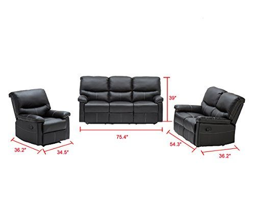 Admirable 3 Pcs Motion Sofa Loveseat Recliner Sofa Set Living Room Machost Co Dining Chair Design Ideas Machostcouk
