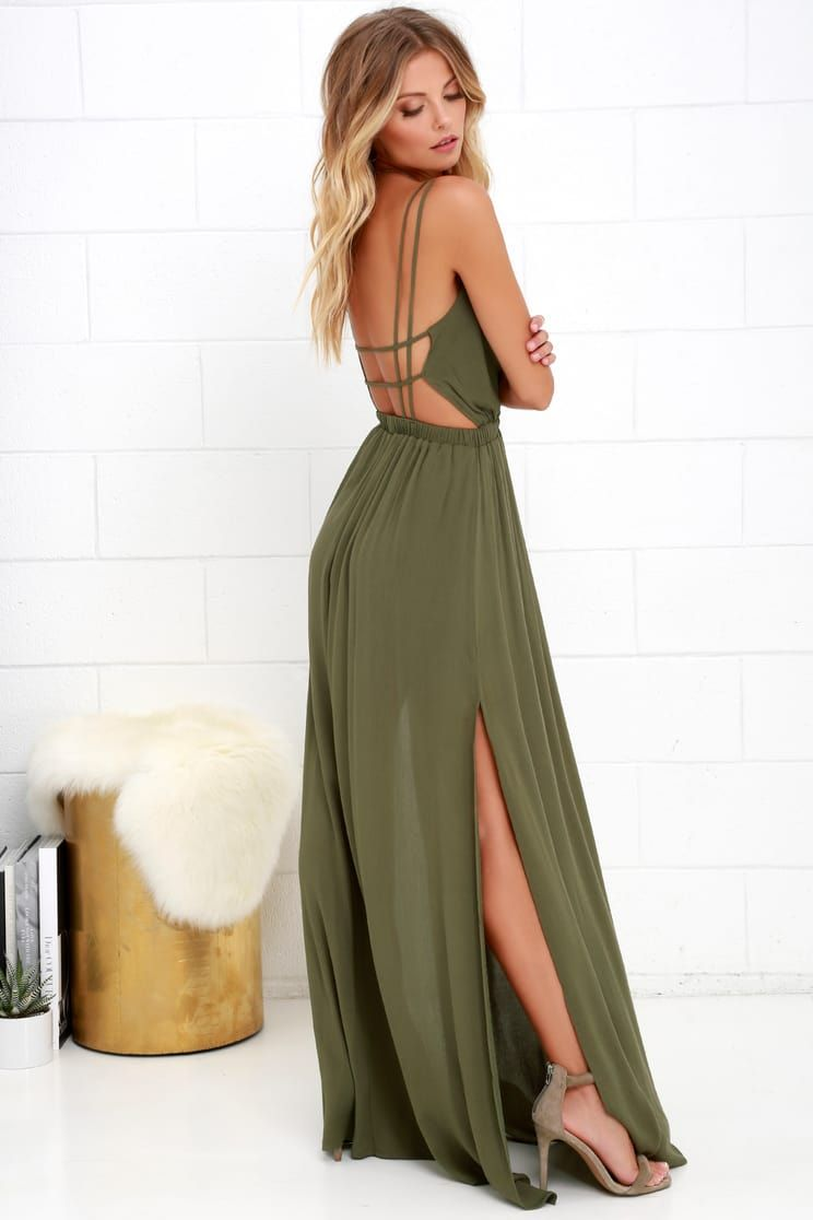effce55bb70 Lost in Paradise Olive Green Maxi Dress