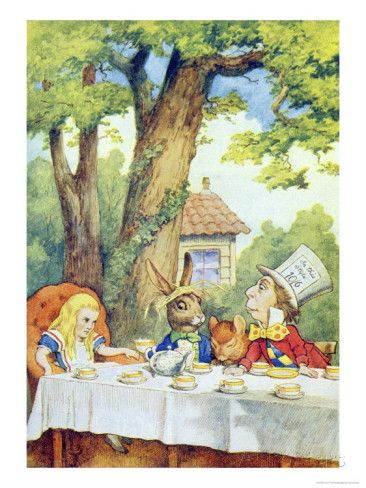 the mad hatters tea party illustration from alice in wonderland by lewis carroll