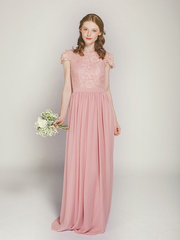 Elegant dusty rose long lace bridesmaid dress with chiffon skirt ...