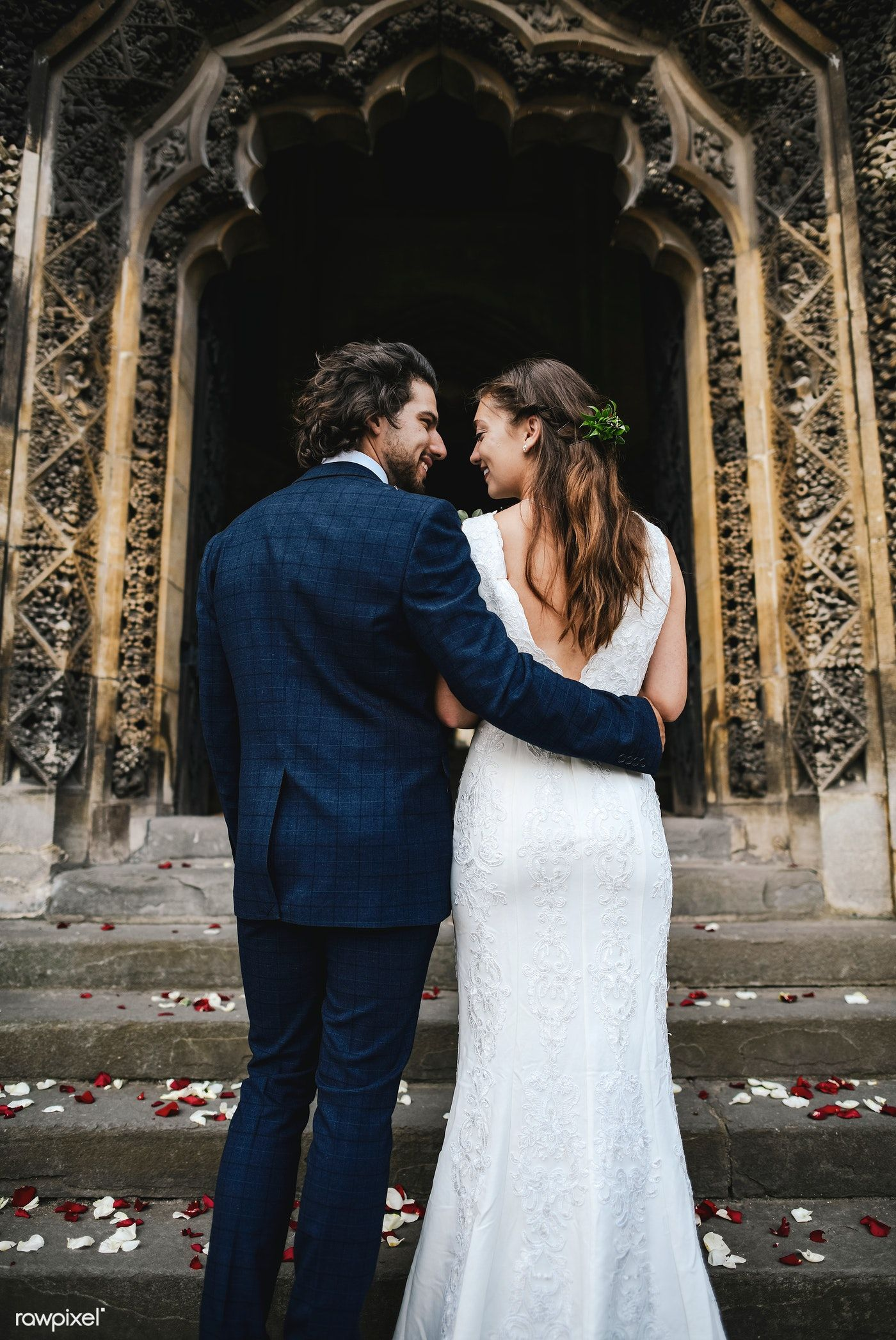 Download Premium Image Of Newly Wed Couple On The Church Steps 526747 Newlyweds Wedding Wedding Styles