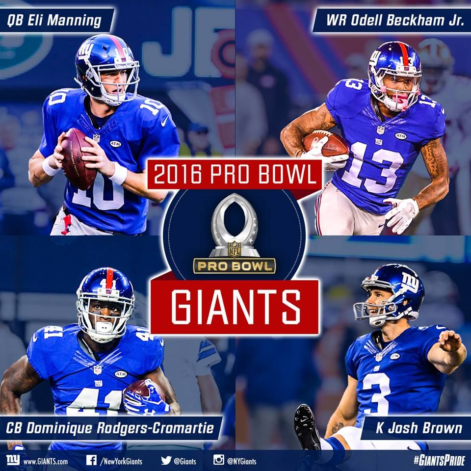 sneakers for cheap b4b1d fa9b5 4 Giants selected for the 2016 Pro Bowl. OBJ, Eli and Brown ...
