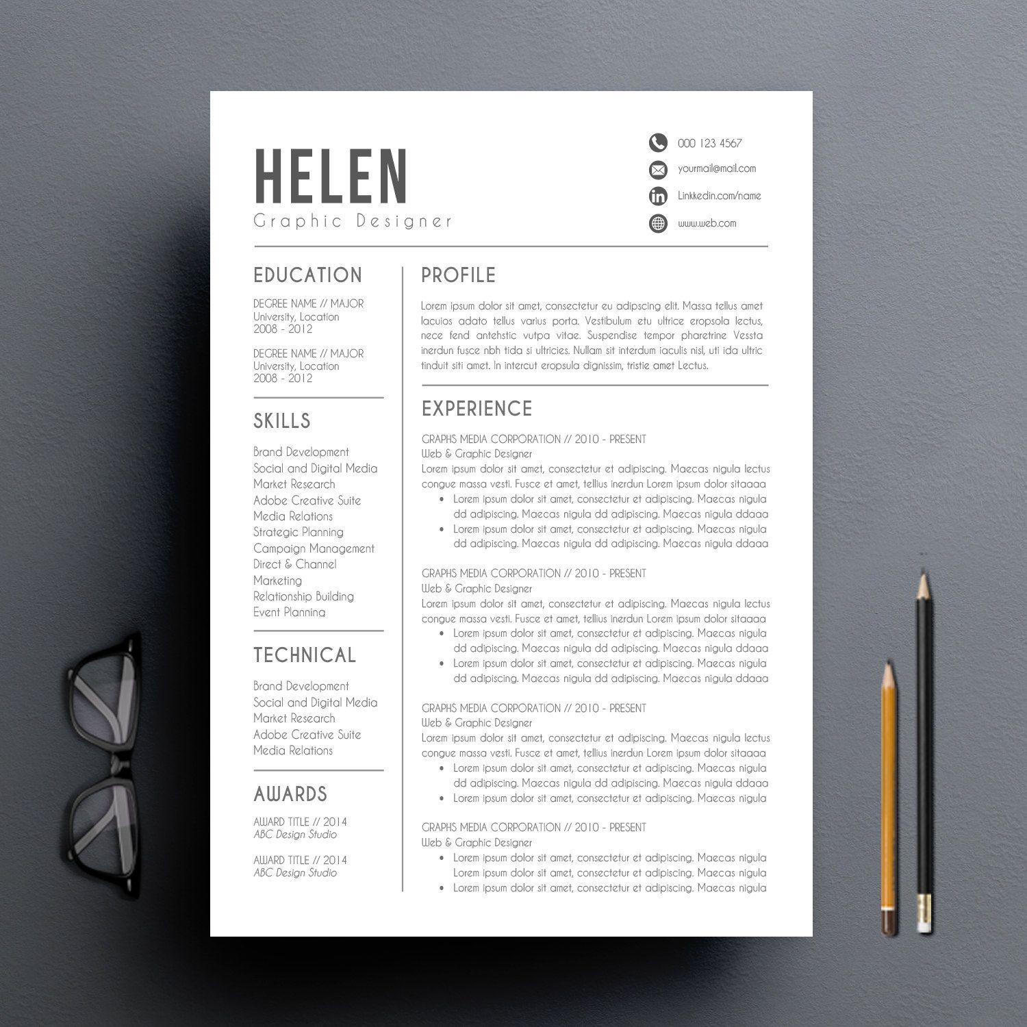 Modern resume template cover letter reference by resumebook resume modern resume template cover letter reference letter for word diy printable professional and creative resume design mac or pc spiritdancerdesigns Images