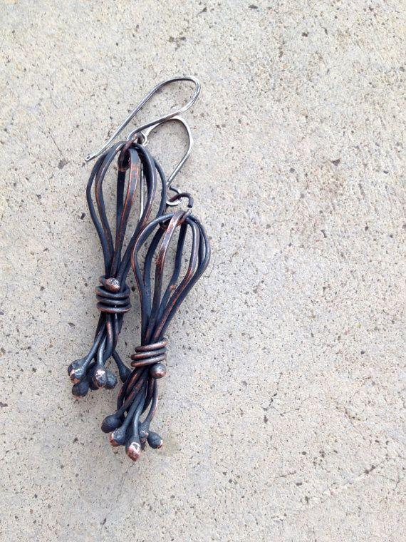 unusual oxidized copper wire basket earrings on sterling silver ear wires by Studio Luna Verde