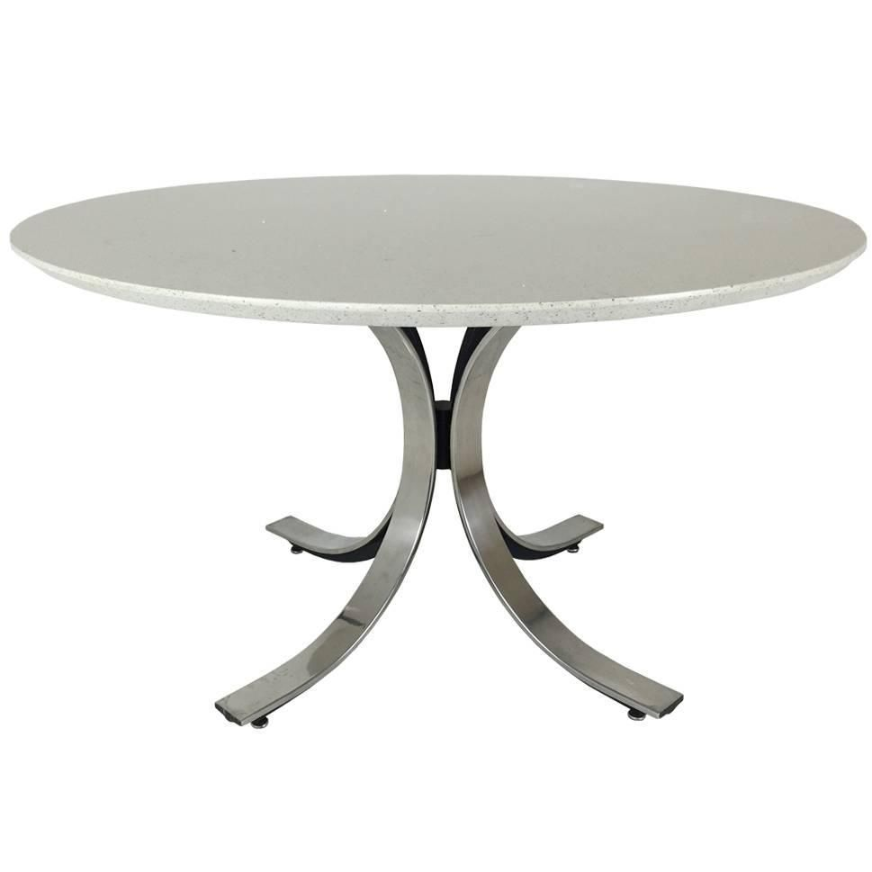 Four Legged Chrome Base Round Dining Table With White Quartz Top By