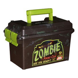 MTM Zombie Ammo Can 50 Caliber |The MTM Zombie ammo can is a great way to store bulk or boxed ammo. Its all plastic design is lighter in weight than the 50 caliber US Military Surplus Ammo Can. Transferring ammo to and from the range just became a little easier.