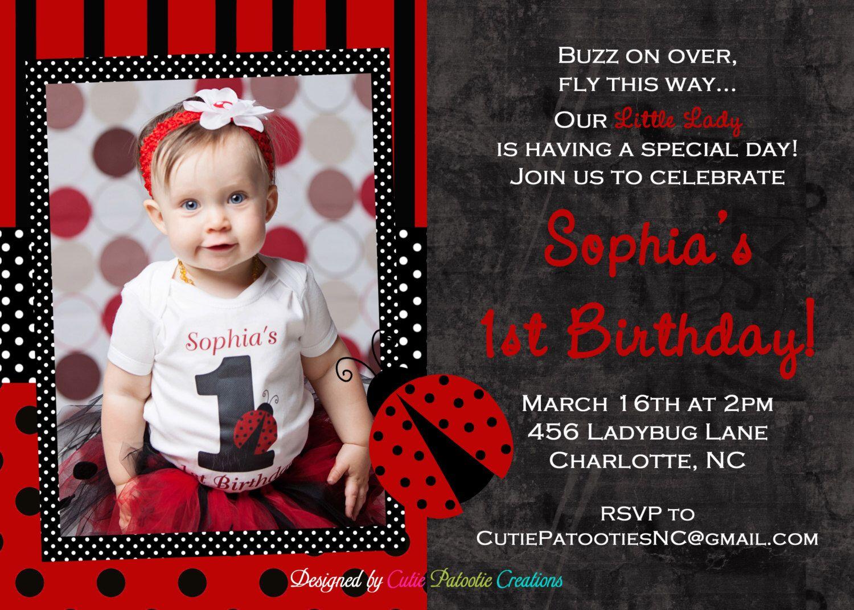 Ladybug Birthday Invitation, Printable Party Invitations by ...