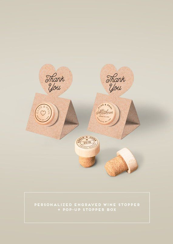 Wedding Favors - Personalized Wine Cork Stopper with Thank You KRAFT Pop-up Stopper Box - Original idea - Free Shipping #personalizedweddingfavors