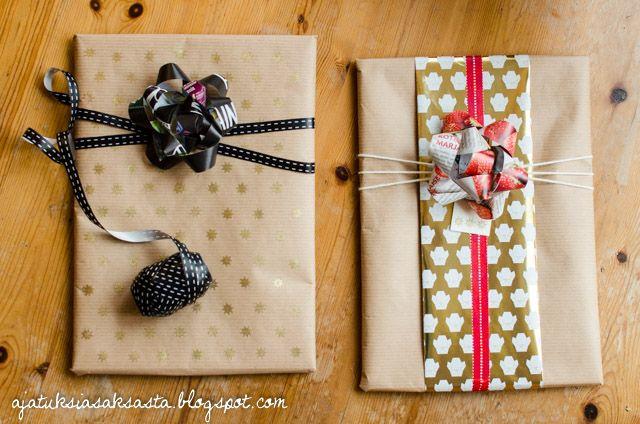 DIY present bows // ajatuksiasaksasta.blogspot.com