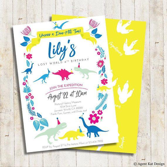 dinosaur girl birthday invitation dinosaur party invitation