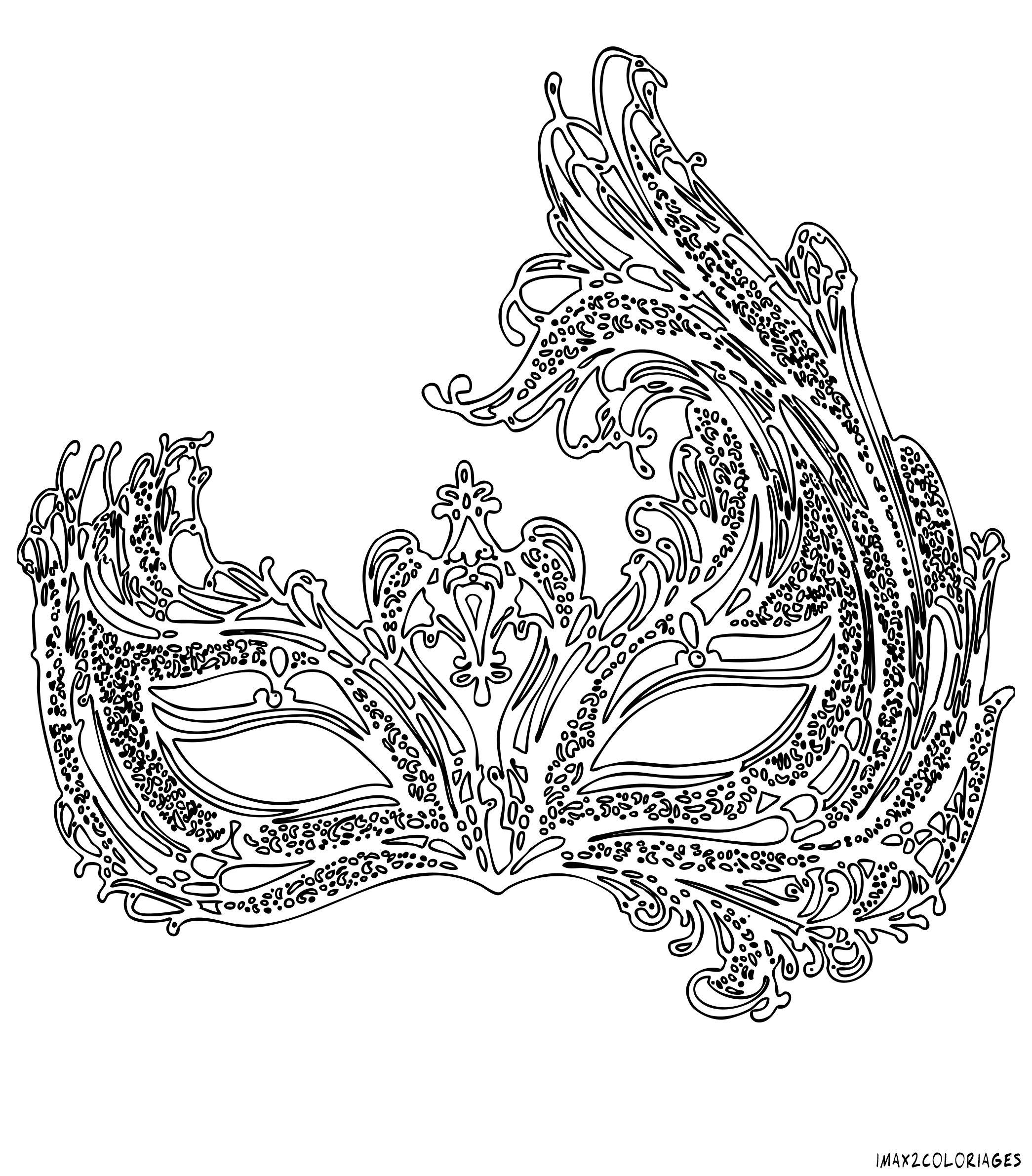 coloriage masque vénitien grande image | Printable adult ...