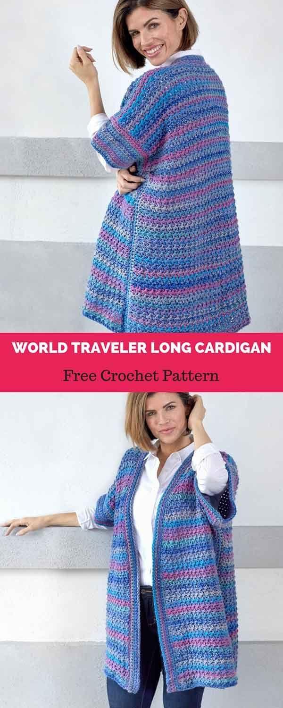 World Traveler Long Cardigan Free Crochet Pattern Crochet