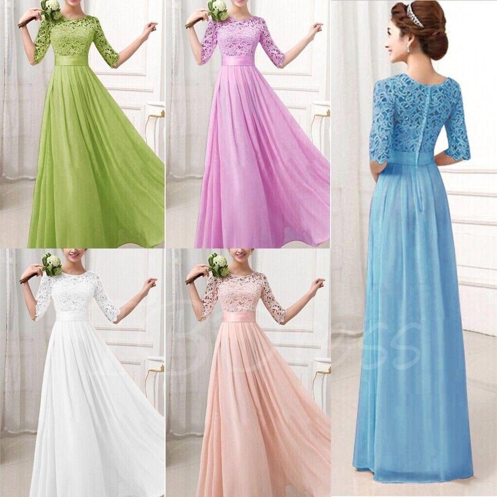 Half Sleeves Lace Long Bridesmaid Dress   Long bridesmaid dresses