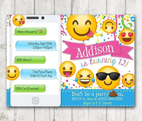 Printable Emoji Birthday Party Invitation Invitations Iphone Smiley Face