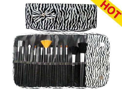 New Pro Makeup Cosmetic Brushes Set with Zebra Print $6.50