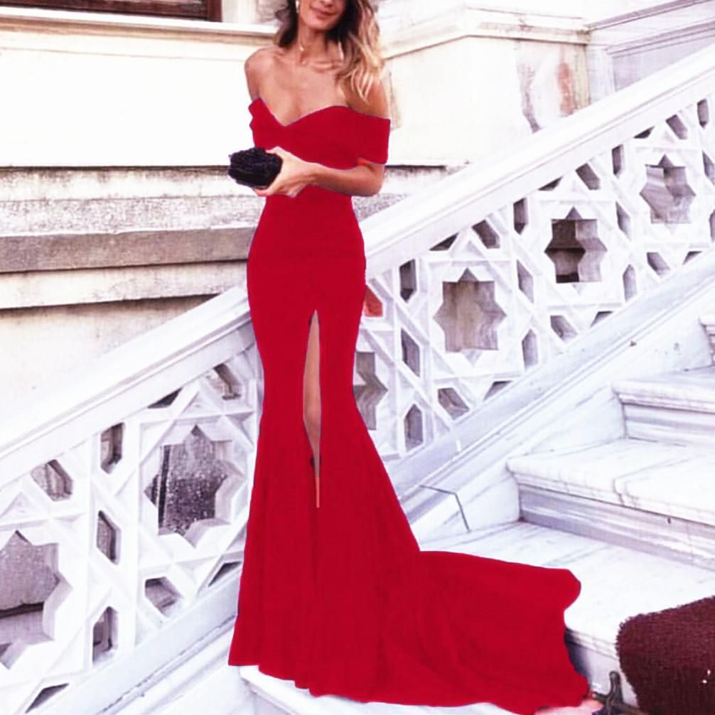 Trendy sexy evening dress long off the shoulder sexy mermaid prom