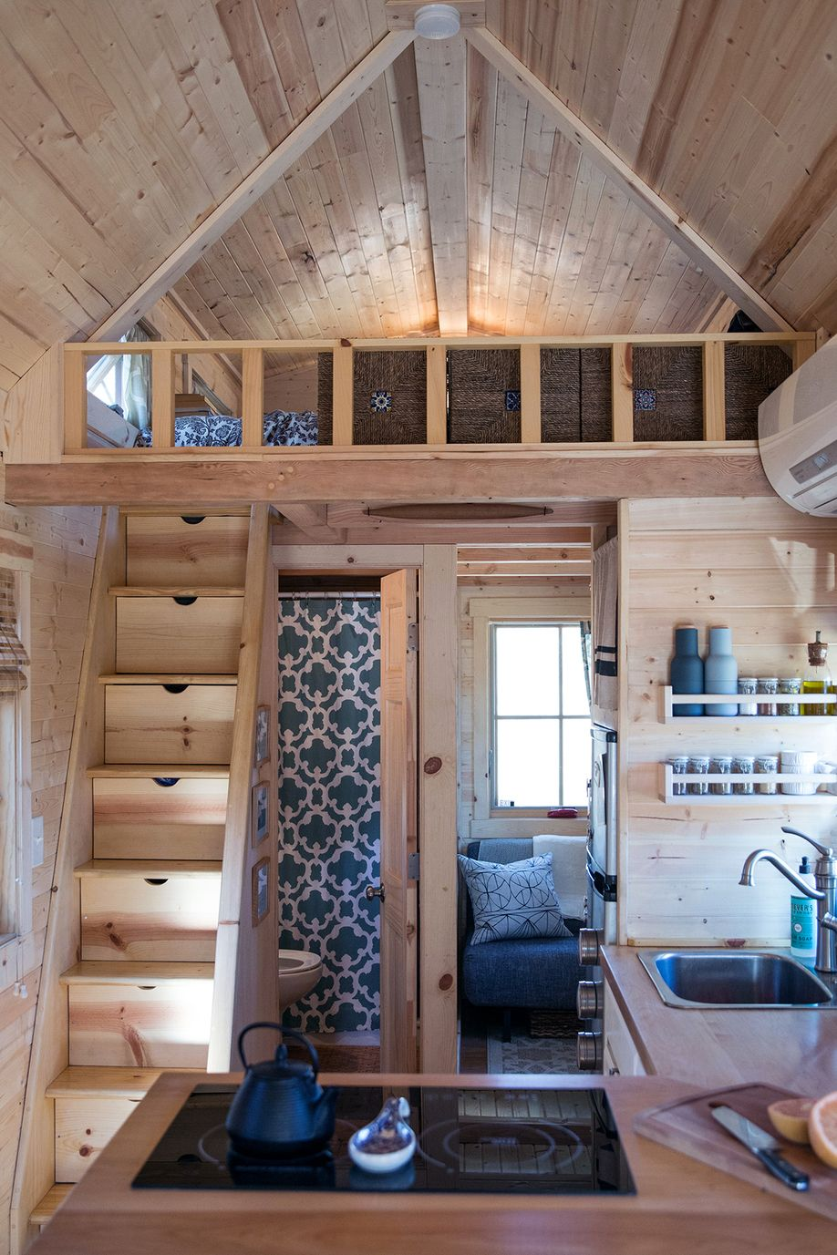Couple S Little Living Tiny House Year Three Tiny House Loft Tiny House Bathroom Tiny Loft