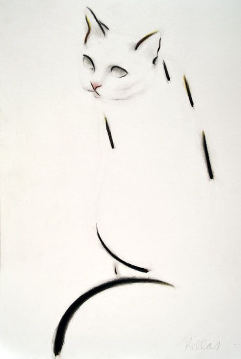 ARTFINDER: Dash Cat by Kellas Campbell - Charlie is a cat of elegant lines.  I used charcoal and pastel pencils to draw her looking back at me.