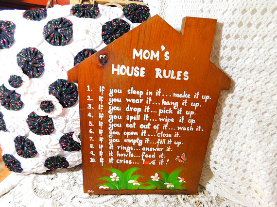 moms rules wall hanging moms rules house moms rules wall on wall of moms id=36168