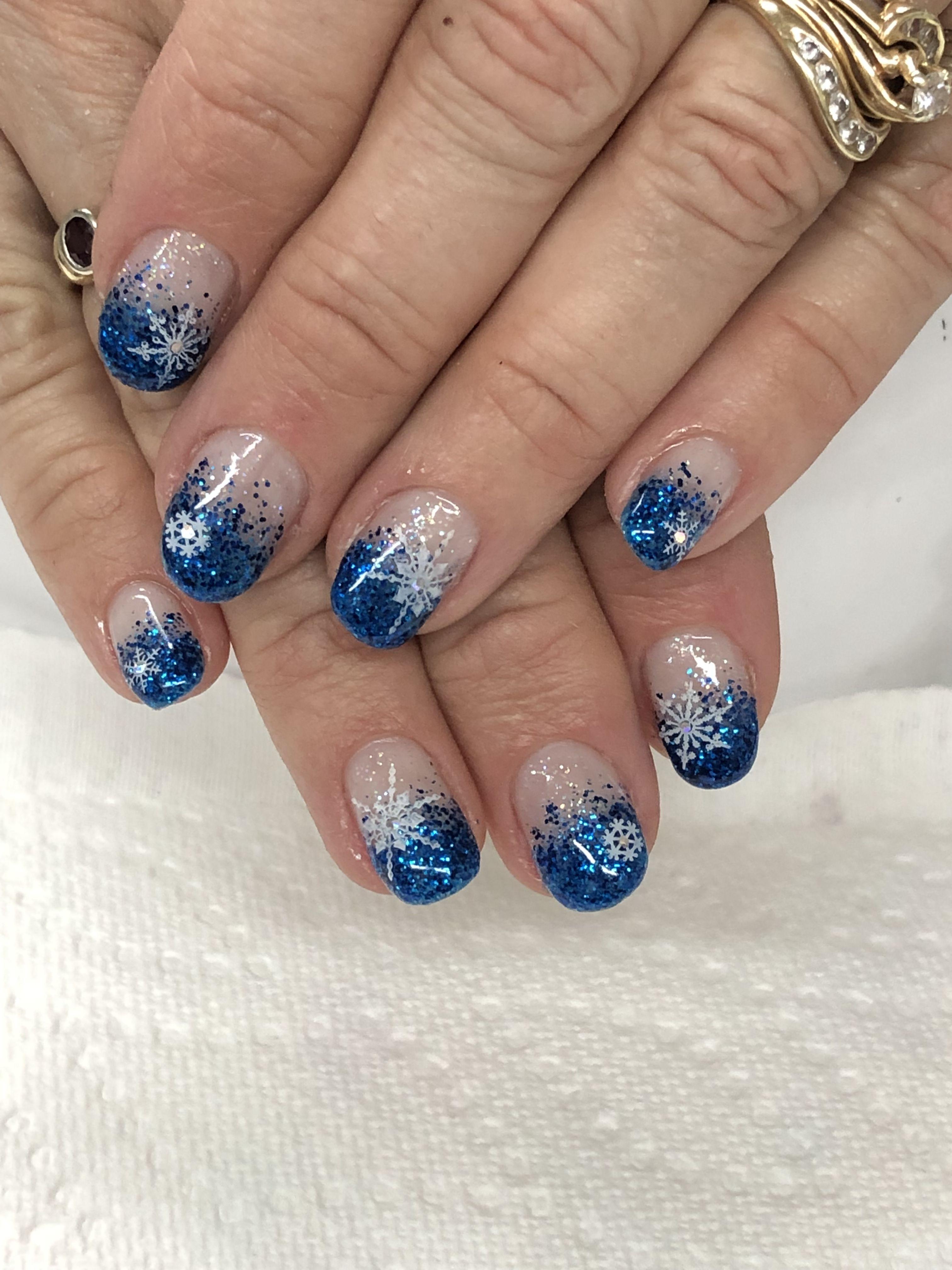 Royal Blue Ombre Glitter Gel Nails Gel Nail Designs Glitter Gel Nails Glitter Gel