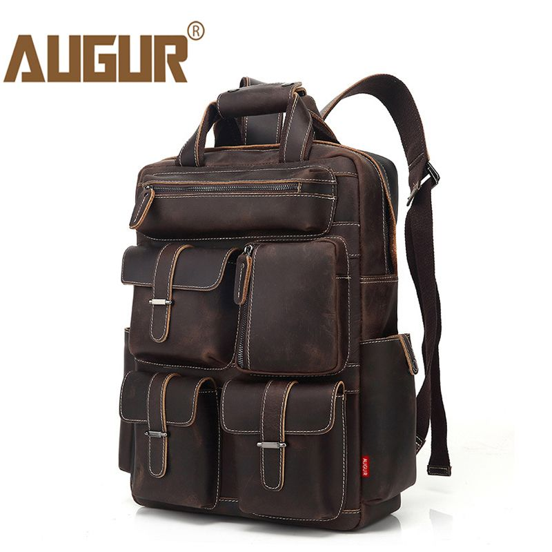 AUGUR Men s Backpack Retro Genuine Leather Backpack Multi Pocket waterproof  Travelling Large Capacity Back bag Mochila ad510f097663