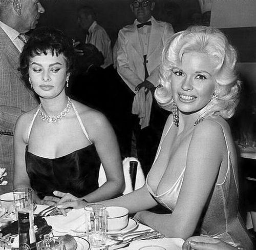 Sophia Loren and Jayne Mansfield, 1957.. Check out Sophia's eyes! :)