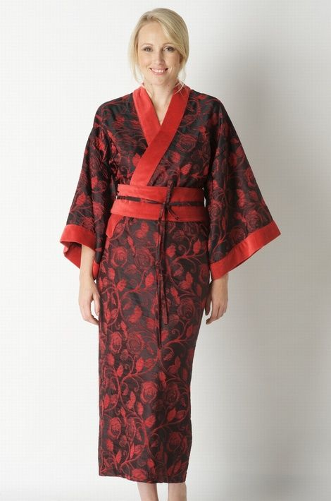 Stunning Black And Red Print Ladies Kimono Dressing Gown With