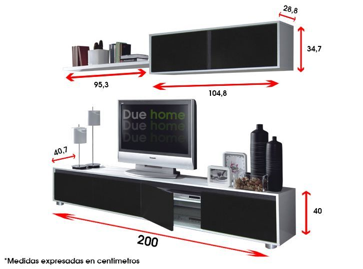 Medidas mueble de tv buscar con google sala tv pinterest for Muebles modulares modernos para tv