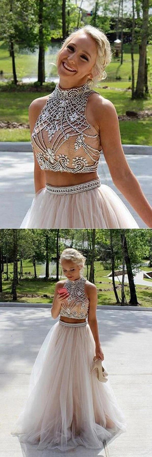 Two Pieces Prom Dresses Halter Neckline Evening Dress Winter Formal In 2021 Halter Prom Dresses Piece Prom Dress Prom Dresses [ 1791 x 597 Pixel ]