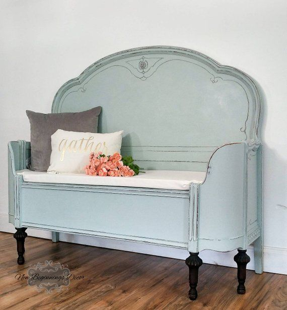 Antique Headboard Bench: SOLD EXAMPLE Annie Sloan Chalk Painted Entryway Bench