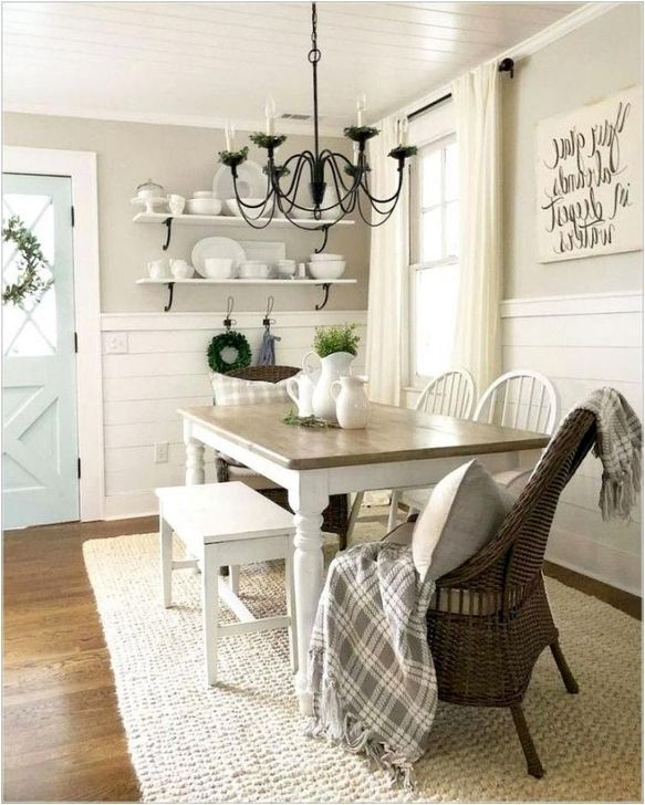 Cool 60 Easy Rustic Farmhouse Dining Room Makeover Ideas