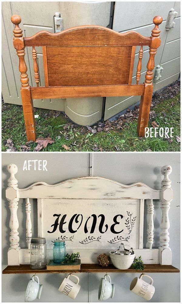 30 Most Impressive DIY Makeovers of Flea Market Finds - Check out this #DIY #FleaMarket flip of a mug rack made from an old headboard #HomeDecorIdeas ...