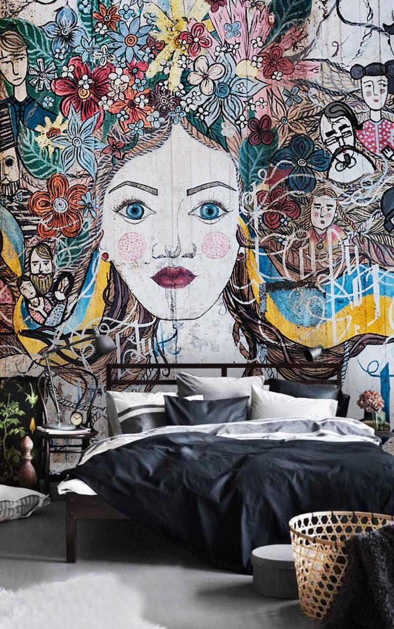 Wallpaper Graffiti Ukraine Street Art Woman Wall Art Peel Etsy Wallpaper Art Expensive Art