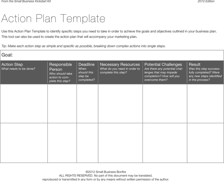 Action Plan Template 3 Goal Setting Restaurant Business Sample
