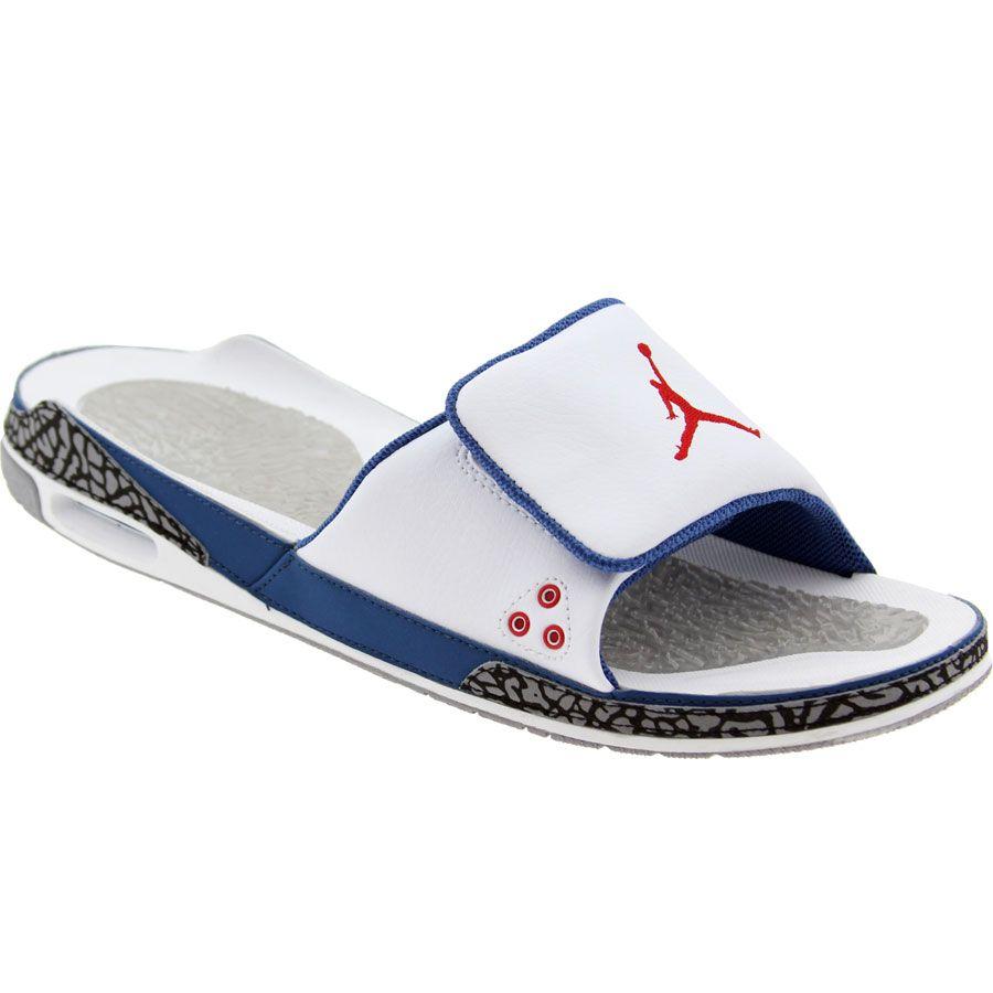 046585cd1398d9 Air Jordan 3 Slide - True Blue (white   varsity red   true blue   cement  grey)