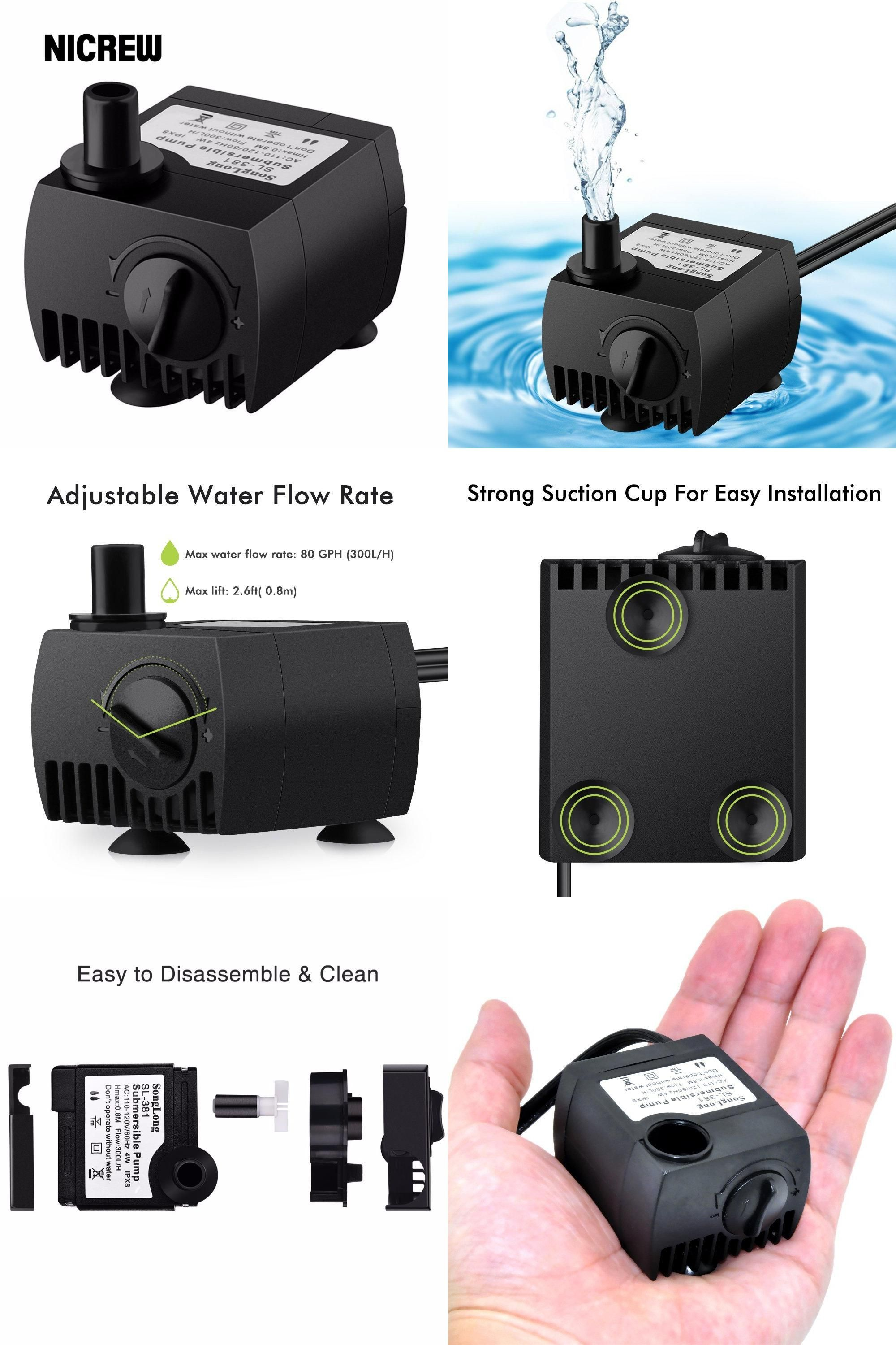 Visit To Buy Nicrew Submersible Water Pump For Aquarium Pond Fish Tank Fountain Water Pump Pompe Hydroponics With 1 4m Powe Water Pumps Fish Tank Submersible
