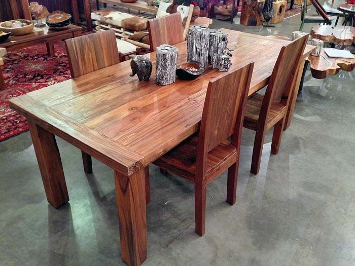 7 Foot Long X 3 Wide Dining Table Made From Salvaged Old Growth Teak Wood Railroad Ties Trestle Bridges House Posts Indonesia