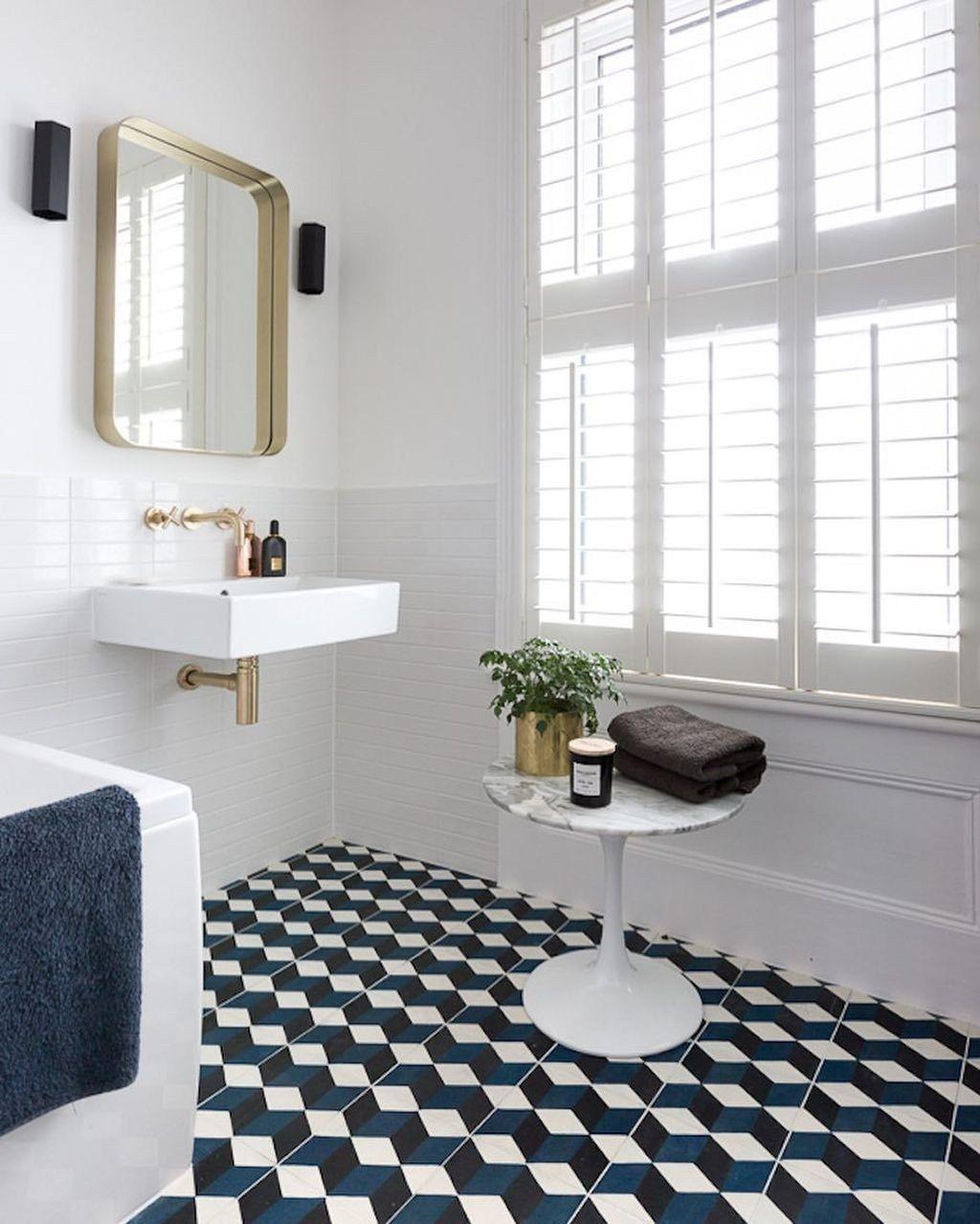 38 Lovely Geometrical Tiles Ideas For Your Bathroom Decoration Patterned Floor Tiles Blue Tile Floor White Bathroom Black and white bathroom floor tile
