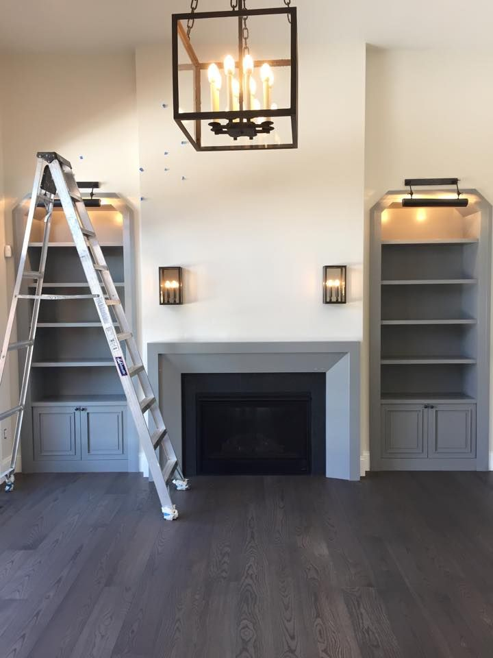 Fireplace design and color with coordinating built ins