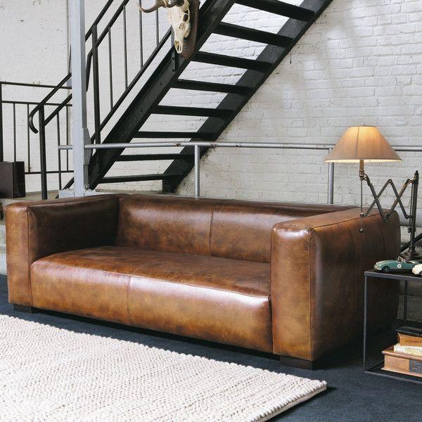 3 4 sitzer ledersofa braun couch. Black Bedroom Furniture Sets. Home Design Ideas