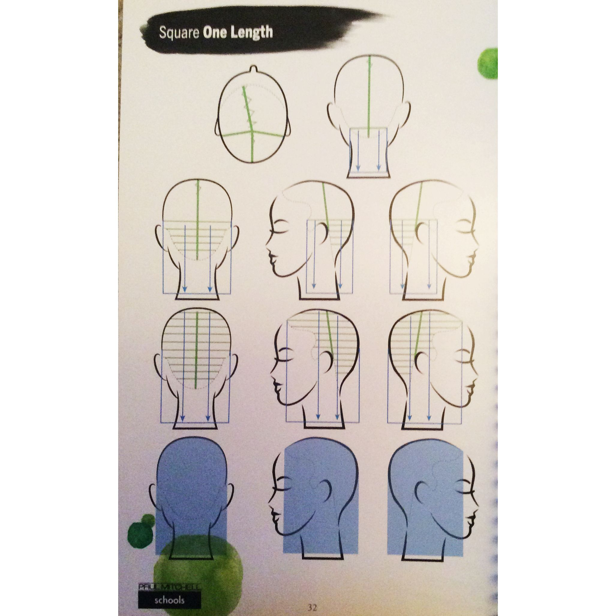 Square one length diagram  One length hair, One length haircuts