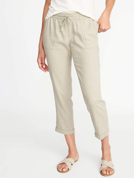 reputable site full range of specifications modern and elegant in fashion Old Navy Mid-Rise Linen-Blend Cropped Pants for Women ...